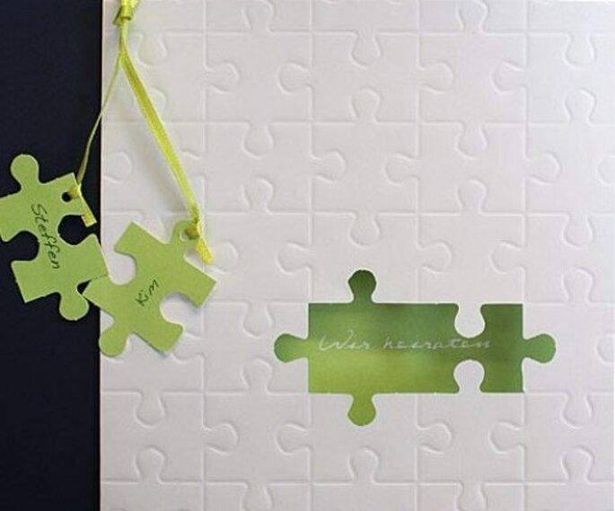 Hochzeitskarte pr1274g von www.alle-karten.de im Puzzle-Design