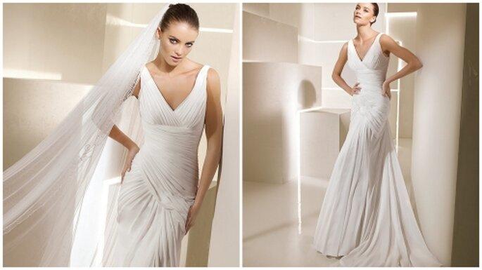 Vestido de novia corte sirena, drapeado. La Sposa