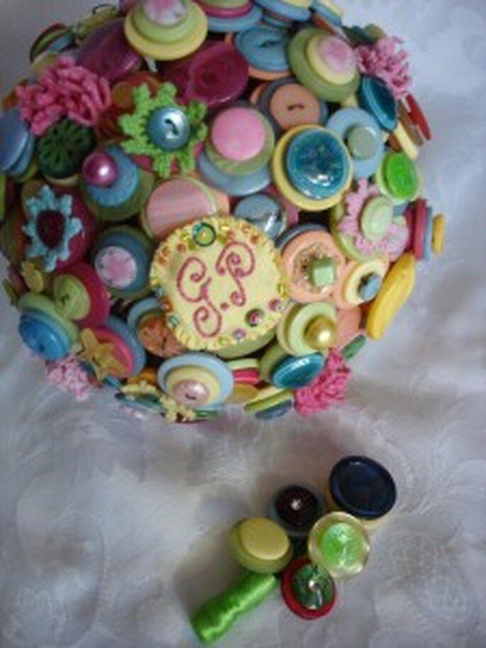 Bouquet de mariée original en boutons
