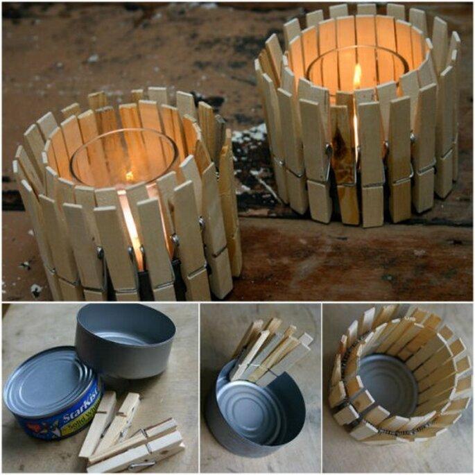 Velas decorativas con gancho de madera. Fotos de  NaturallyInspirited.com