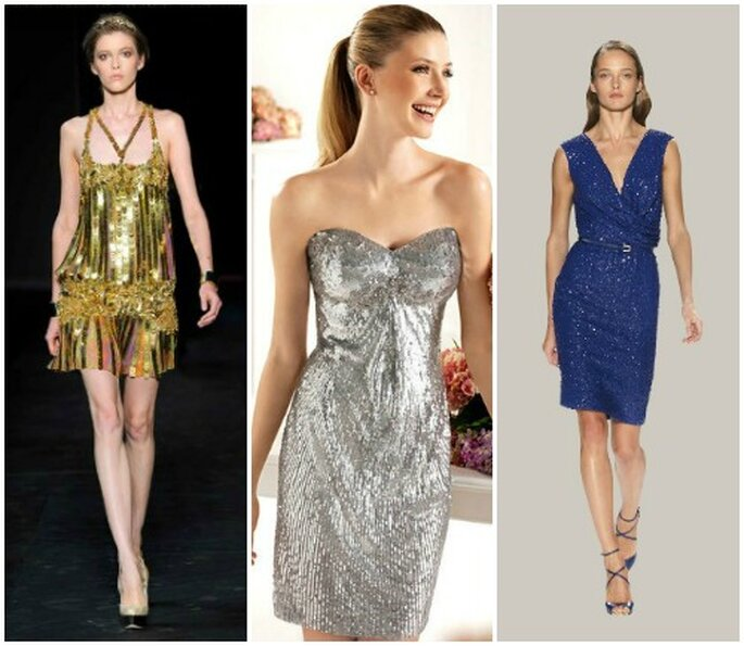 L'abito corto effetto metal è perfetto per una cerimonia serale. Da sinistra Roberto Cavalli PE 2012, Pronovias Fiesta 2013, Elie Saab Pret a Porter PE 2012