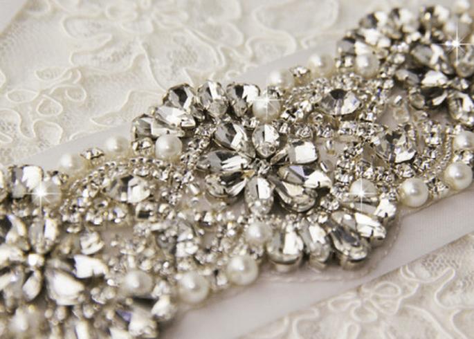 Cinturón de pedrería para vestido de novia - Foto Etsy