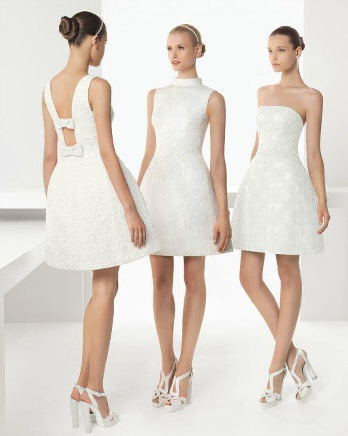Tre modelli di abito da sposa corto in pizzo sangallo. Foto Rosa Clarà Collezione 2013