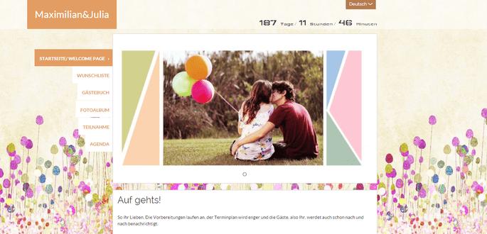 Premium Hochzeitshomepage bei Zankyou