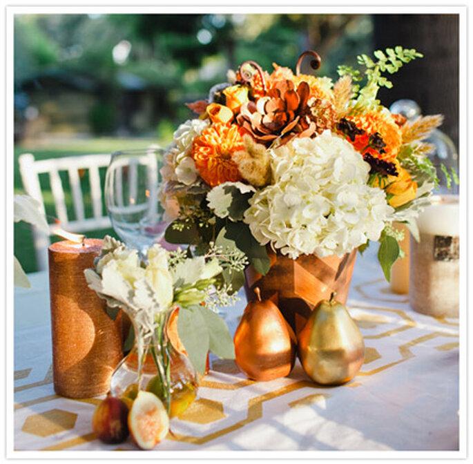 Decoración de boda inspirada en Acción de Gracias. Foto de Christine Farah Photography