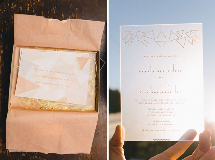 Faire-parts de mariage avec des motifs géométriques par www.inthenowweddings.com. Photo: www.sweetlittlephotographs