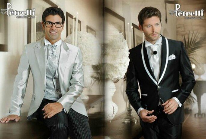 Due esempi di cravatta chiara, abbinata a giacca e gilet oppure in netto contrasto con l'abito. Petrelli Uomo.