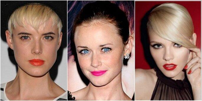 Labbra protagoniste per la sposa trendy 2014. Da sinistra: Alexis Bledel, Agyness, Yves Saint Laurent Makeup