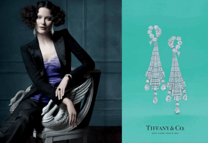 Aretes largos de diamantes para novia - Foto Tiffany