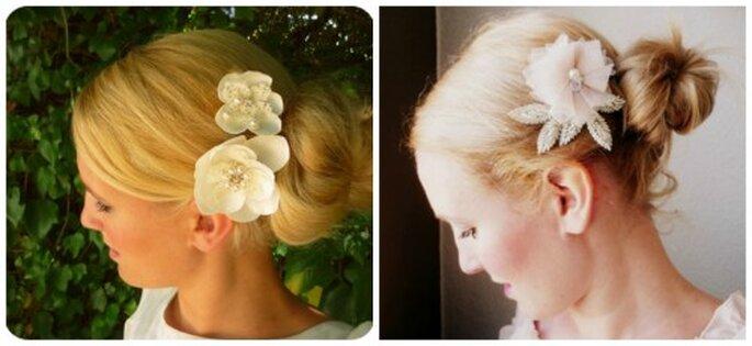 Des fleurs dans la coiffure de mariée, quoi de plus romantique ? Photo: La Chia Accessoires            Fleurs dans les cheveux au lieu du voile habituel. Photo: La Chia accessoires