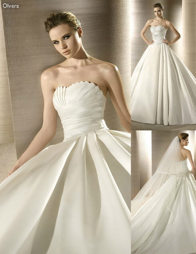 Vestido de novia con pliegues en el corset - Foto: Atelier Diagonal