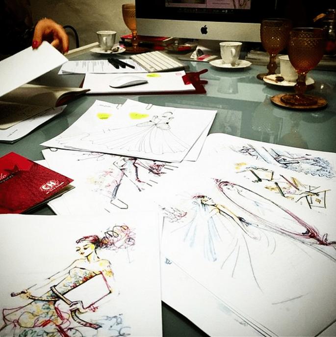 Foto: Croquis e desenhos de Carol para o livro