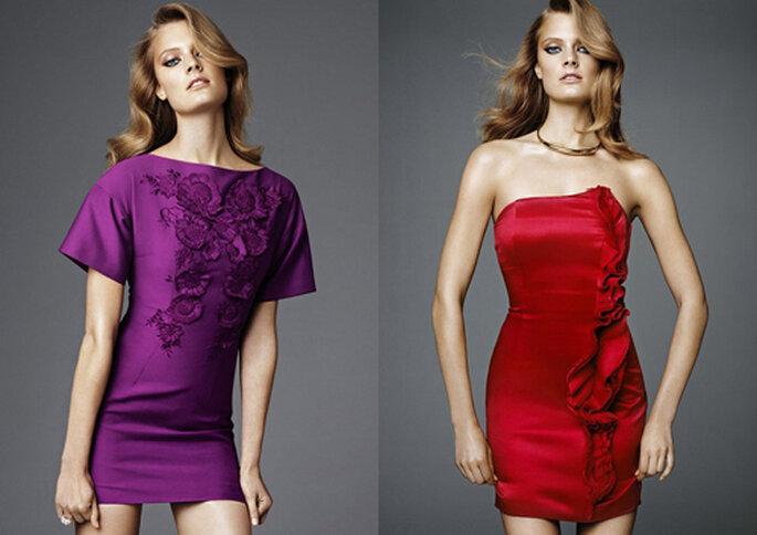 Miniabito color viola con dettagli floreali in rilievo sul petto e tubino in seta rosso rubino con rouche asimmetrica, per un'invitata sexy e romantica. Foto: H&M