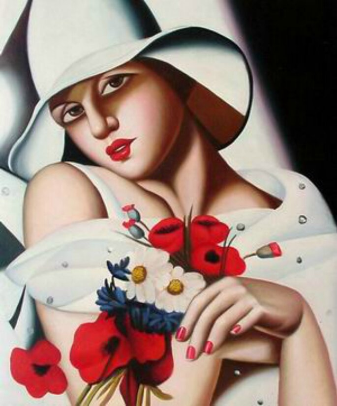 Tamara de Lempicka Donna con papaveri