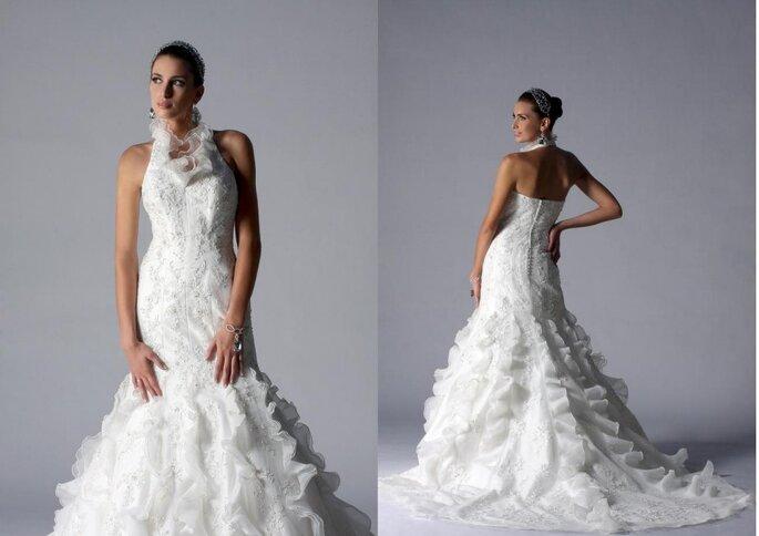 Essence. Vestido de novia de encaje y volantes