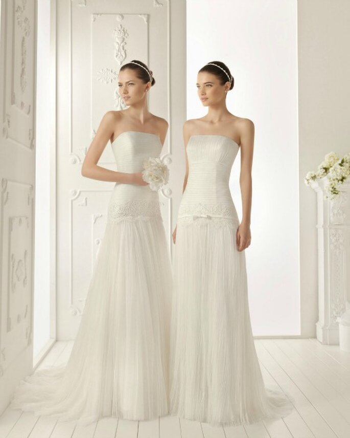 Vestido de gasa plisada. Modelo perfecto para novias altas. Foto de Aire Barcelona