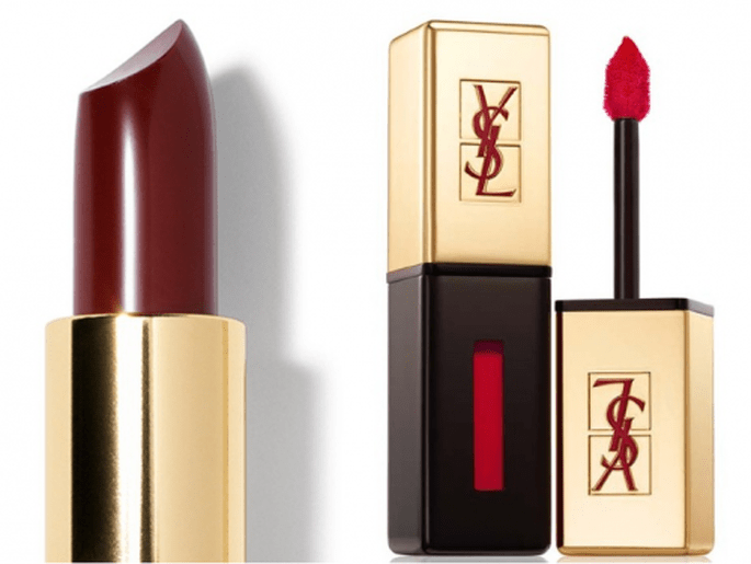 Lip Color in Hollywood Red y Rouge pur Couture Glossy Stain - Foto Bobbi Brown y YSL