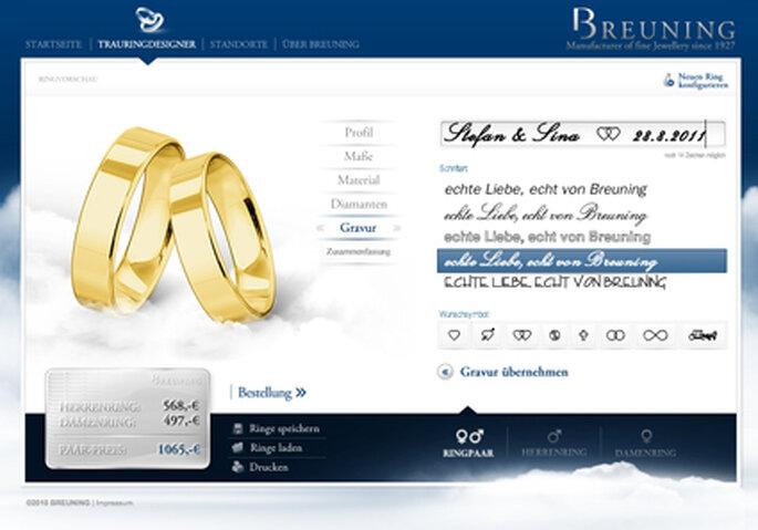 Bei Breuning könnt Ihr Eure Ringe und die gewünscht Gravur online konfigurieren.