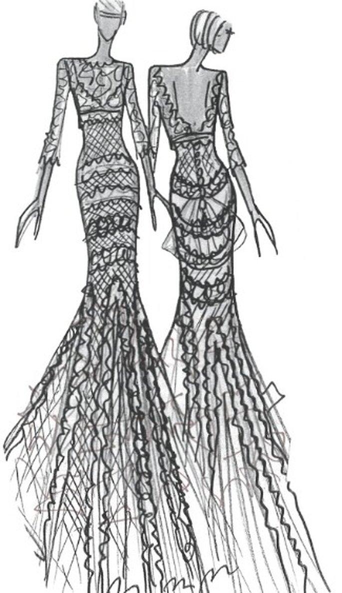 Vestidos de novia Cymbeline 2012, boceto de las tendencias