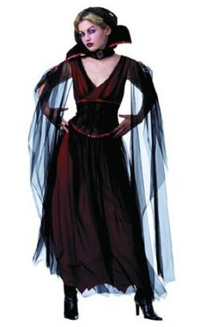 Disfraz tipo vestido de vampiresa en negro y bordó