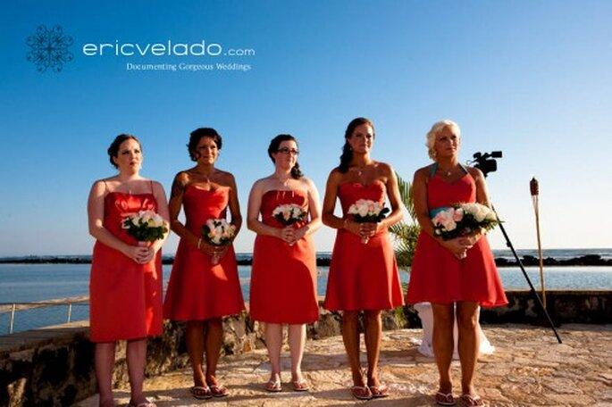 Damas de honor en una Boda en la playa. Foto. Eric Velado