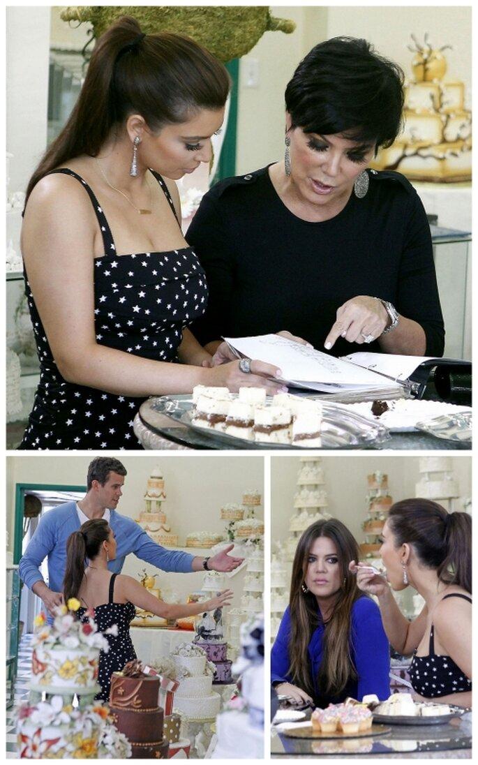 Kim Kardashian escogiendo el pastel de su boda
