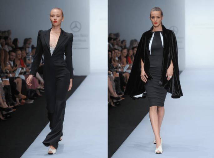 Jumpsuit y vestido con capa en color negro - Foto Mercedes Benz Fashion Week México