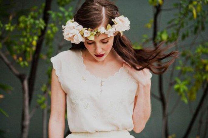 Corona con fiori di seta by Mignonne Handmade on Etsy