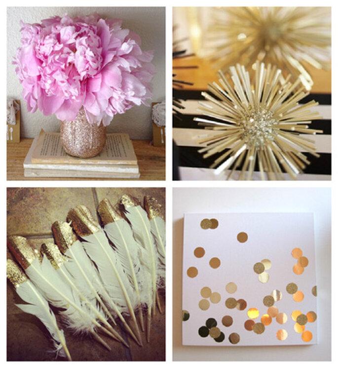 DIY Ideas doradas para boda: Gold Mason Jar via Engaged & Inspired, Gold Styrofoam Ball via Glitter Guide, Gold Dipped Feathers via Pinterest, Gold Confetti Art via Mint Love Social Club