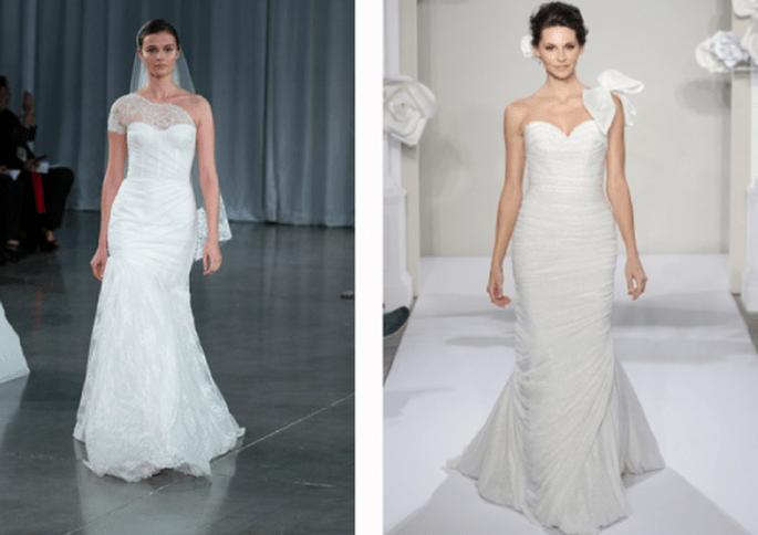 Vestidos de novia con escote asimétrico - Foto Monique Lhuillier y Pnina Tornai