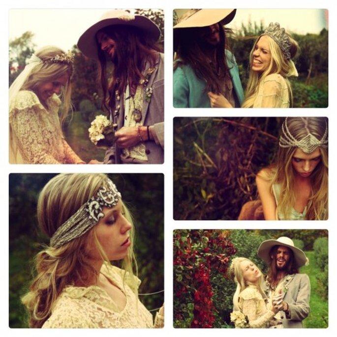 Coronas para el cabello en una boda estilo hippie. Foto de Hip & Love