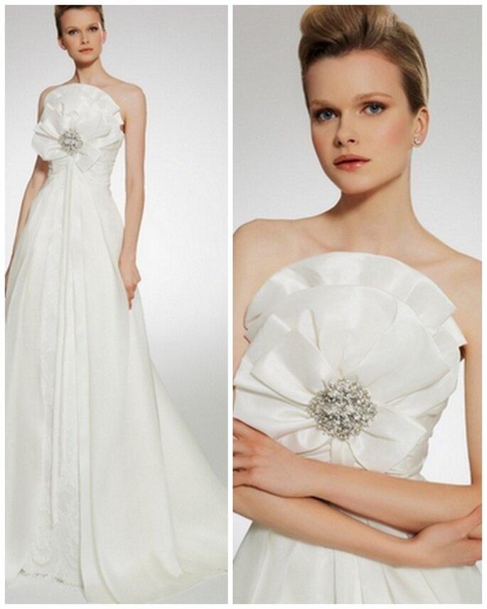 Vestido de novia strapless, corte princesa. Patricia Avedaño