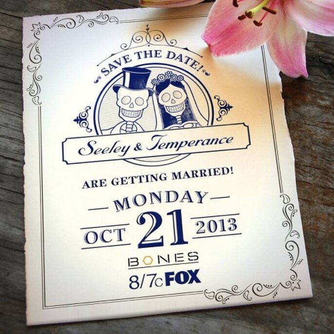 """La invitación de la boda de Booth y Brennan en la serie """"Bones"""" - Foto FOX"""