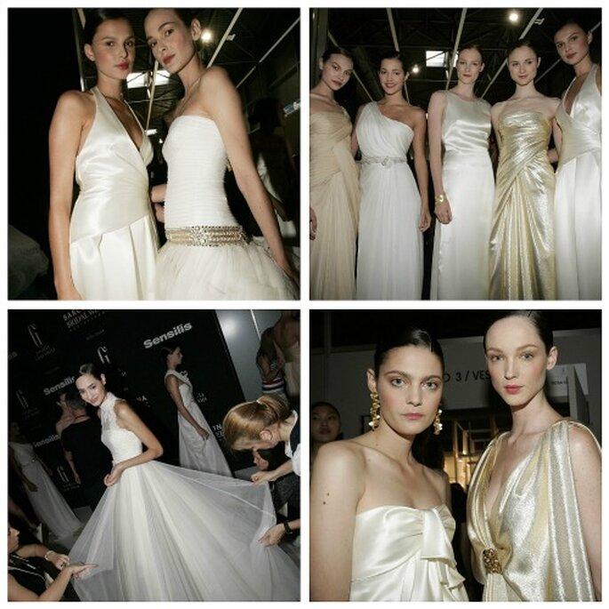 Modelos en el 'backstage' de Rosa Clará