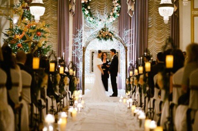 Decoración de boda inspirada en Navidad - Foto Alexandra Roberts