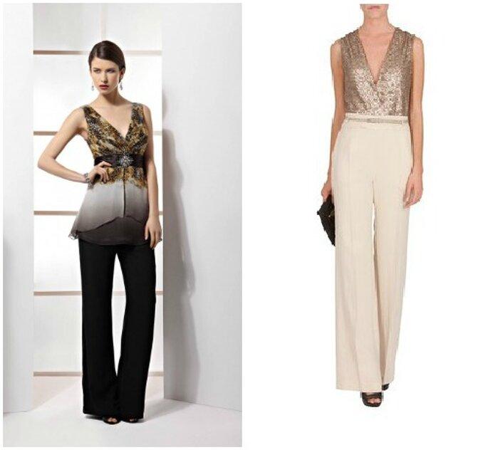 Proposta pantalone firmata Demetrios Evening 2013 e tuta con corpetto gioiello di Max & Co.