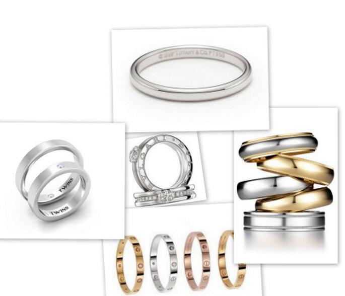 Varias alianzas de oro blanco de prestigiosas firmas