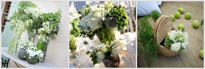 Flores y frutas para decorar en una gama de verdes y blancos. Fotos: Mon Plus Beau Jour
