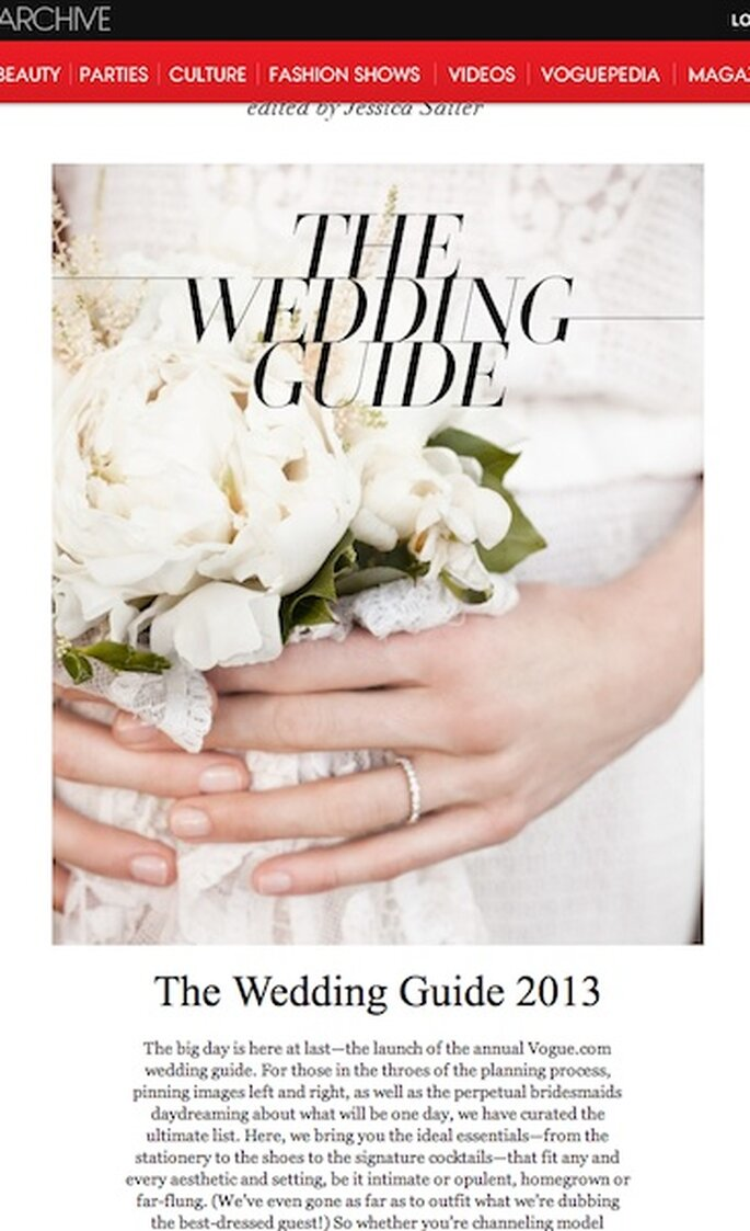 The Wedding Guide 2013 da Vogue.com - um guia para os casamentos mais chics