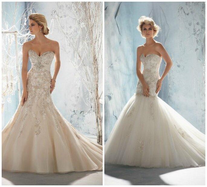 Due modelli con linea a sirena, impreziositi da cristalli. Mori Lee 2014 Bridal Collection. Foto: www.morilee.com