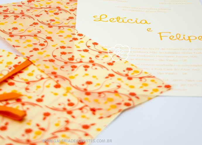 convite de casamentomodelo LF em laranja e amarelo