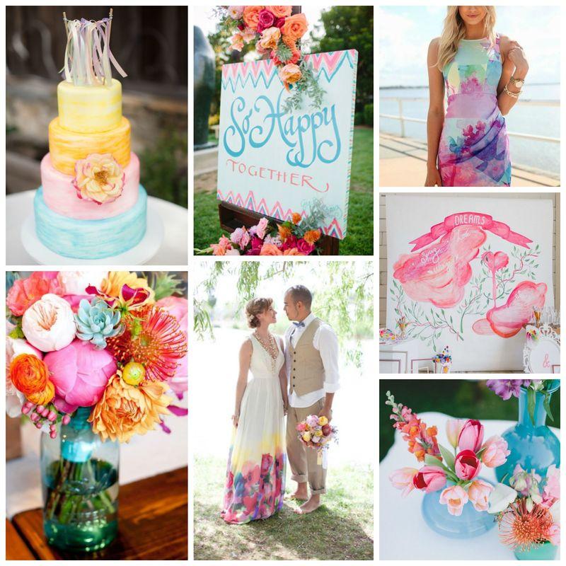 Tableau d'inspiration  ; mariage à l'aquarelle Source Pinterest