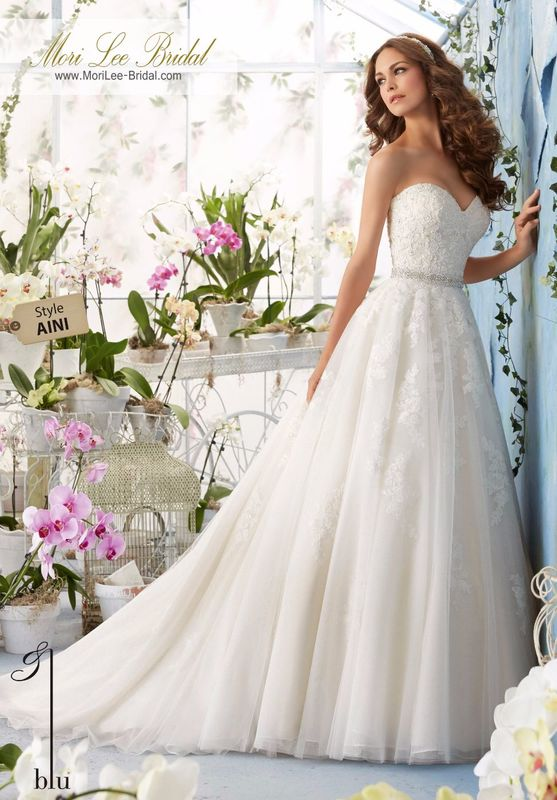 Dress Style AINI Alencon Lace Appliques With Crystal Beading On The Tulle Ball Gown  Removable Beaded Organza Tie Sash. Colors available: White, Ivory, Ivory/Light Gold.