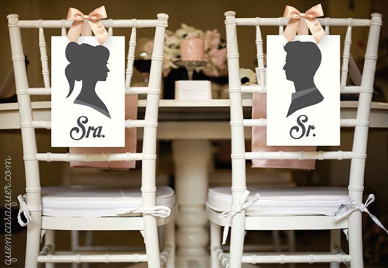 Plaquinhas para cadeira dos noivos - Quem Casa Quer