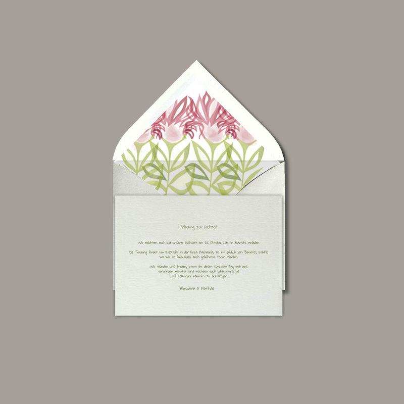 DIMASS Flores para una boda en primavera, con un tarjetón en verde musgo.