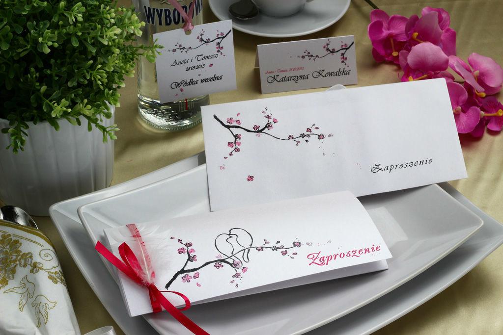 Zaproszenie ślubne z piórkiem - Kwiat Wiśni
