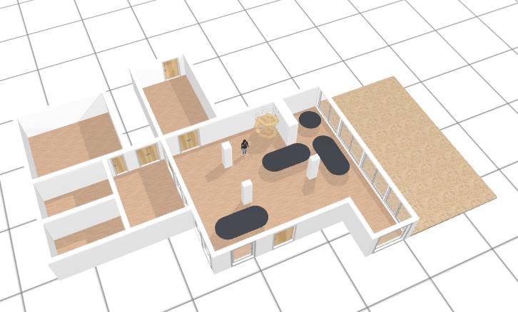 Plan en 3D de la salle