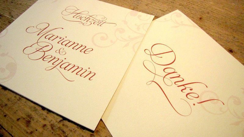 Beispiel: Einladungen und Danksagungskarten, Foto: Die Drucker Hochzeitskarten.