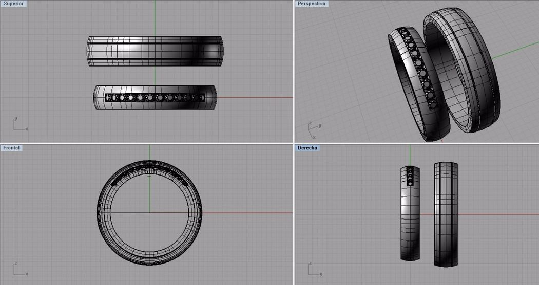 Todas las argollas son diseñadas en programas 3D para dar una precisión en detalles , tallas y terminados.