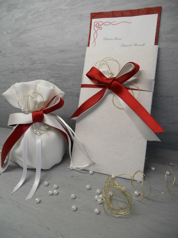 Stampa e crea- invito e sacchetto confetti cooordinato a tema rosso